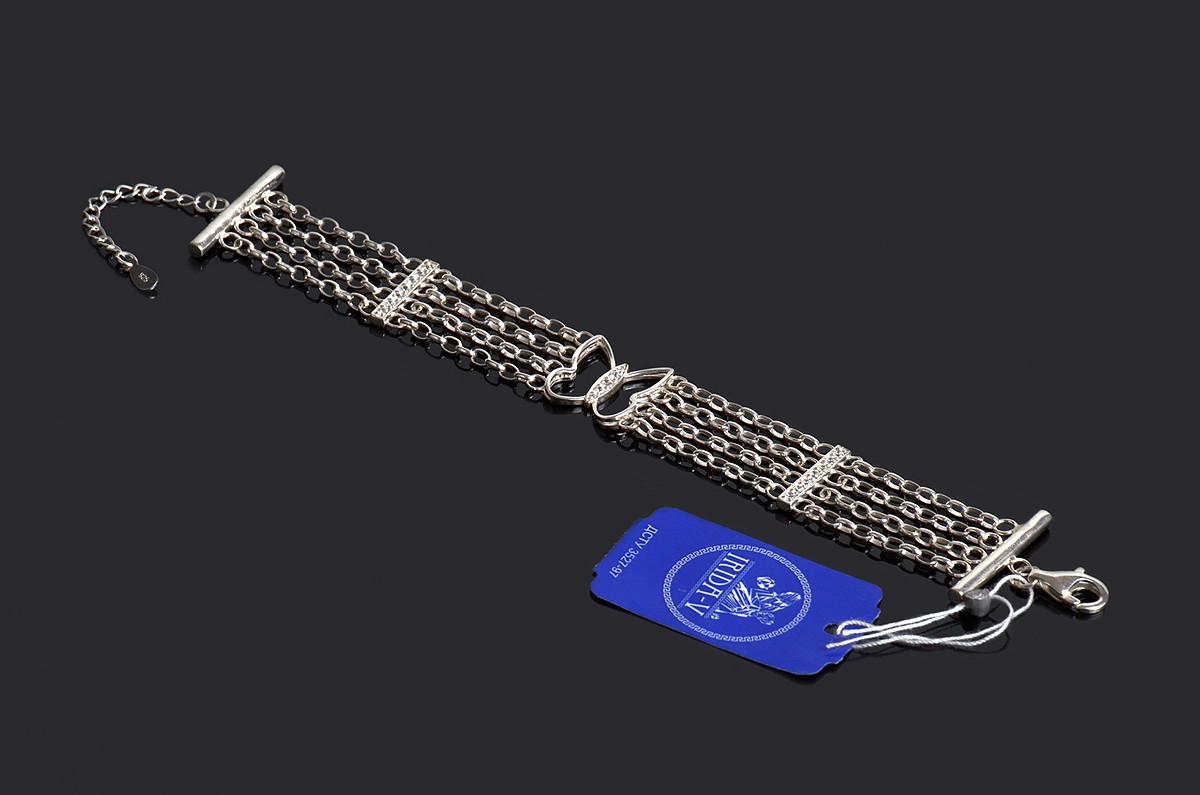 Серебряный широкий браслет Бабочка регулируемый размер