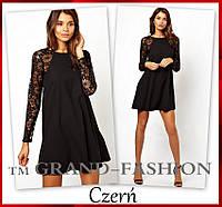 """Черное нарядное платье """"Lace-Реглан"""""""