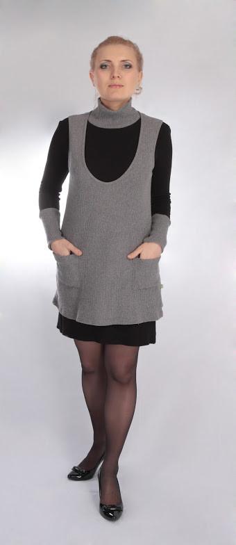 Теплое платье для беременных и кормящих мам ДЕЛОВАЯ МАМА (серо черное, размер S)