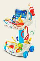 """Набор """"Доктор"""" медицинский столик с инструментами - карта пациента, микроскоп, градусник, пинцет, капельница"""