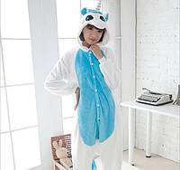 Пижама кигуруми женская и мужская Единорог бело-голубой