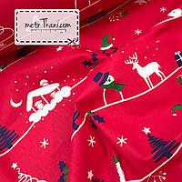 Новогодняя ткань с домиками и ёлками на красном фоне №855