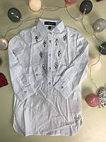 Рубашка-туника белая  для девочек 104-164