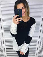 Женский теплый двухцветный свитер (3 цвета)