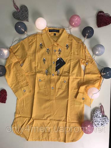 Рубашка-туника желтая для девочек 104-164