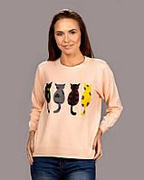 Женский свитер с принтом Разноцветные кошки