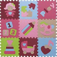 Детский игровой коврик - пазл «Интересные игрушки», 92х92 см, розово-зеленый