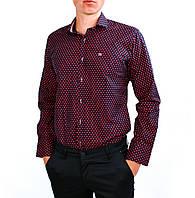 Темно-синяя в красный горошек мужская рубашка классическая B.Z.N.