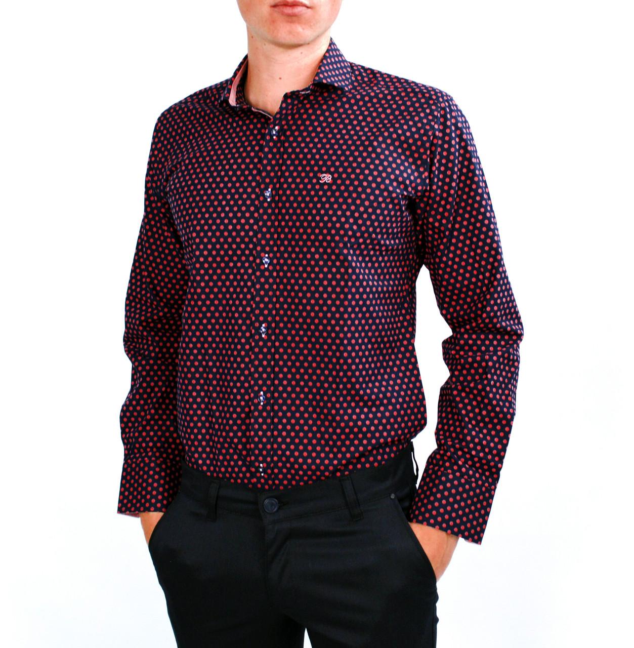 903e3964eb5c2fb Темно-синяя в красный горошек мужская рубашка классическая B.Z.N. -