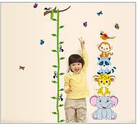 """Интерьерная наклейка на стену в детскую """"Ростомер с разными зверушками"""""""