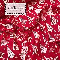 Новогодняя ткань с белыми  ёлочками на красном фоне № 860