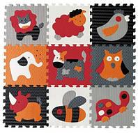 Детский игровой коврик-пазл Baby Great «Веселый зоопарк» оранжево-серый