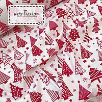 Новогодняя ткань с красными ёлочками на белом фоне № 861