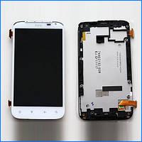 Дисплей (экран) для HTC Sensation XL X315e с тачскрином в сборе, цвет белый,  с передней панелью