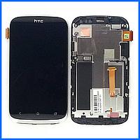 Дисплей (экран) для HTC Desire V T328w с тачскрином в сборе, цвет черный, с передней панелью серебристого цвета