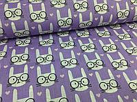 """Польская хлопковая ткань """"кролики белые на фиолетовом"""""""