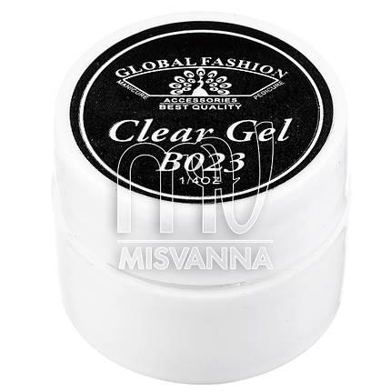 Гель краска Global Fashion Clear Gel B023 без липкого слоя 7 мл черная, фото 2