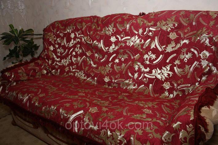 Двуспальное гобеленовое покрывало на диван Версаче красного цвета, фото 2