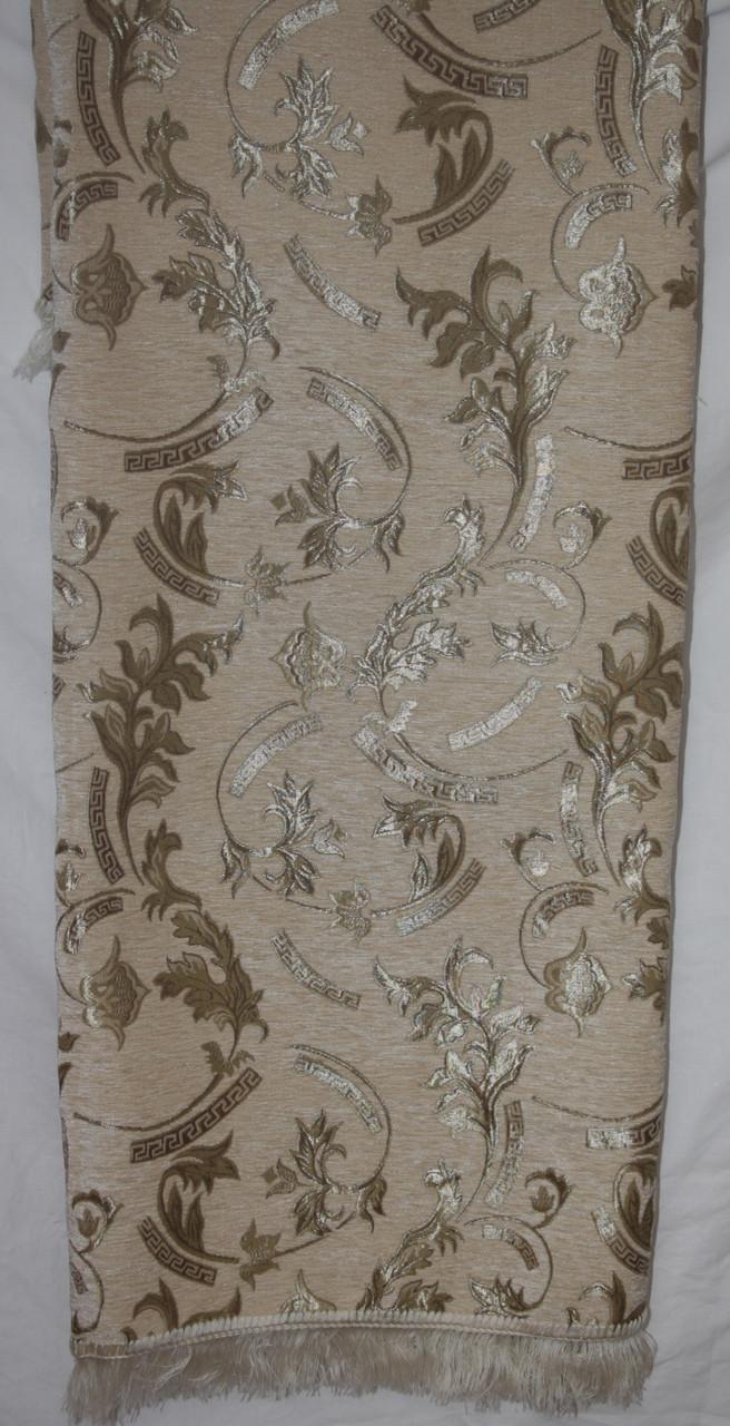 Двуспальное гобеленовое покрывало на диван Версаче бежевого цвета