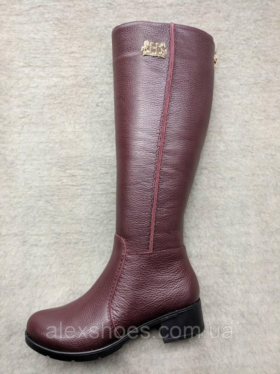 Сапоги женские зимние из натуральной кожи на широком каблуке от производителя  модель
