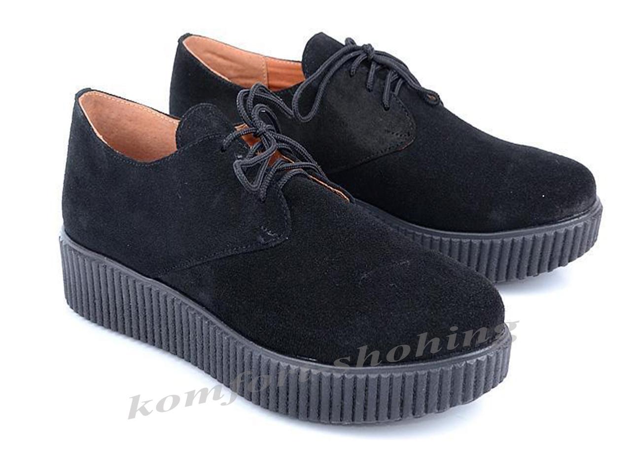 Туфли  женские на шнуровке замшевые, черные  V 909