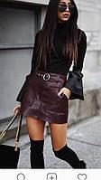 Женская юбка мини кожаная