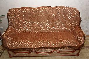 Двуспальное гобеленовое покрывало Вензель мелкий (песочный) на диван, фото 2