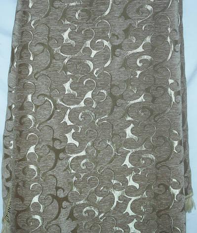Двуспальное гобеленовое покрывало Вензель мелкий (оливковый) на диван, фото 2