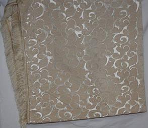 Двуспальное гобеленовое покрывало Вензель мелкий (молочный) на диван, фото 2