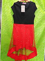 Платье для девочки-подростка 8-14 лет красного с черным цвета с фатином оптом