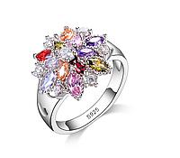 Кольцо женское с цветными кристаллами, покрытое серебром код 1299 р 16 17 18 19