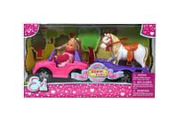 Кукла Еви и джип с трейлером и конем, 3+, фото 1