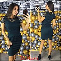 Платье с баской мини гипюр и дайвинг 3 цвета SMslip1548