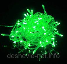 Светодиодная гирлянда 100LED 5м свет зеленый, прозрачный белый и черный провод