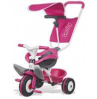 Детский металлический велосипед с козырьком и багажником, розовый