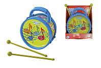 Музыкальный инструмент Барабан. Веселые ноты, 16 см