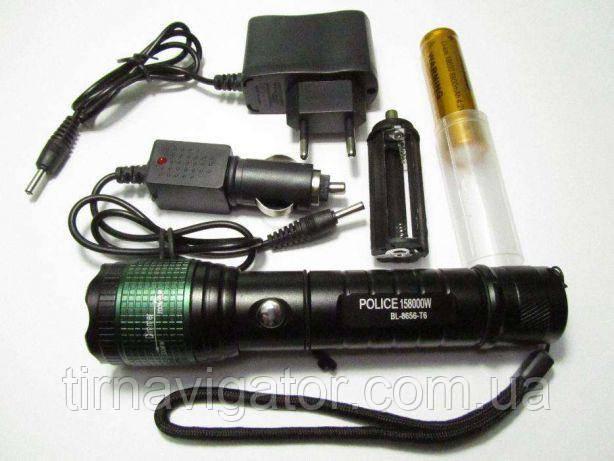 Фонарик ручной Police BL-8656-T6 158000W + Авто комплект