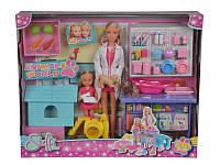Кукольный набор Штеффи и Эви Ветеринарная клиника с животными и аксессуарами, 3+