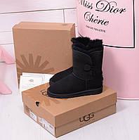 UGG® Australia CLASSIC SHORT с пуговичкой черные. Аналог, фото 1
