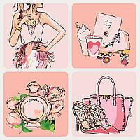 """Раскраски по номерам """"Чувство стиля Нежно-розовый"""" набор для рукоделия"""