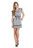 100% Оригинал Платье оригинальное короткое с подкладкой под пояс серое Mango. Последняя цена.