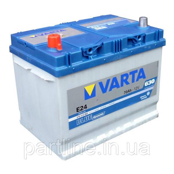 Аккумулятор VARTA Blue Dynamic E24 (570413063) 6СТ-70, 630En, габариты 261х175х220, гарантия 24 мес.