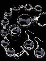 Комплект Агат серьги, подвеска, браслет и кольцо код 1302