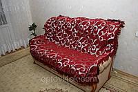 """""""Вензель крупный """" двуспальное гобеленовое покрывало на диван бордового цвета"""