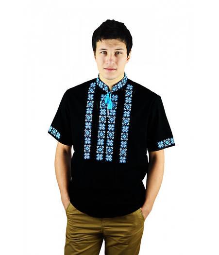 Чорна вишита лляна сорочка в синьо - блакитних тонах