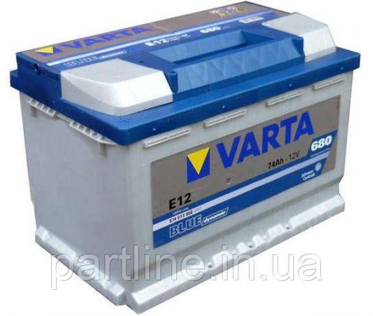Аккумулятор VARTA Blue Dynamic E12 (574013068) 6СТ-74, 680En, габариты 278х175х190, гарантия 24 мес.