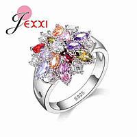 Кольцо с кристаллами покрытие серебро 925 пробы
