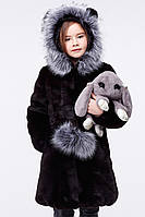Теплая детская меховая шуба с капюшоном 34-36