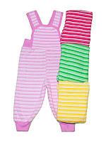 Штанишки с начесом для девочек на плечиках с пуговками