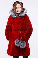 Очаровательная детская меховая шуба красного цвета 34-36